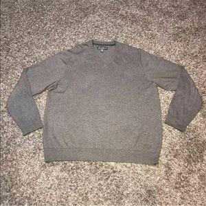 Eddie Bauer Mens Sweater Sz XL V Neck Gray